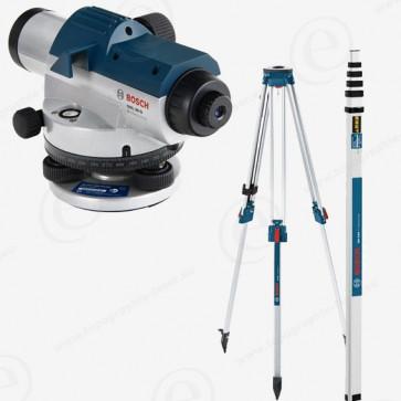 Niveau optique de chantier BOSCH GOL26 en pack avec trépied et mire télescopique 4m