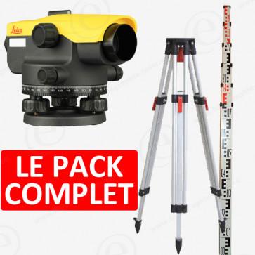 niveau optique leica na524 en pack avec trépied et mire alu 4m