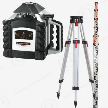 Niveau laser rotatif LASERLINER Quadrum 410s avec cellule M350 en pack trépied et mire