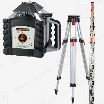 Niveau laser rotatif horizontal LASERLINER QUADRUM 410S OneTouch en pack avec trépied et mire alu