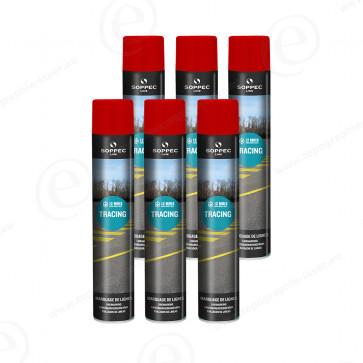 carton de bombe de peinture soppec tracing rouge traceur de chantier lot de 6