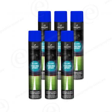 carton de bombe de peinture soppec tracing sport bleu traceur de chantier lot de 6
