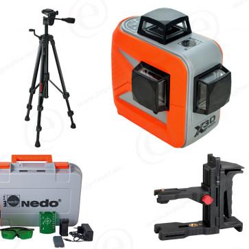 Niveau laser vert X-Liner NEDO en pack complet avec trépied