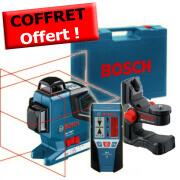 Pack 2 : Laser bosch GLL 3-80 P avec support mural et récepteur laser LR2